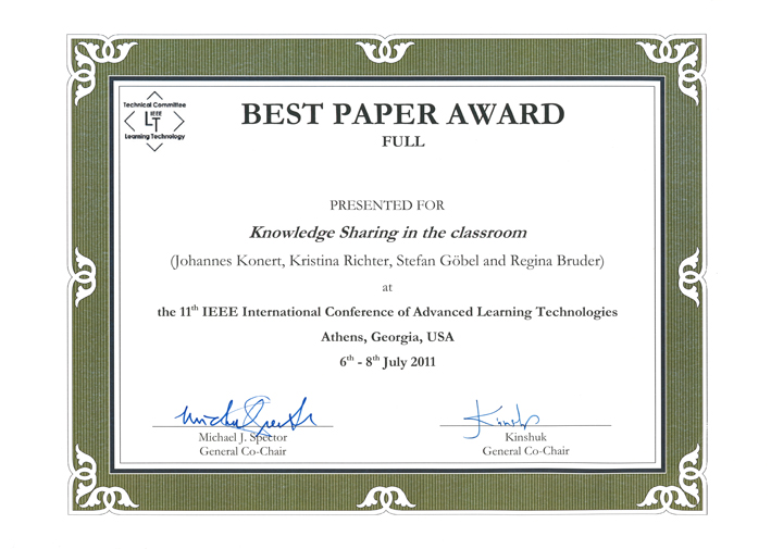 awards for research papers The hipeac paper award aims to encourage hipeac members to publish their work at conferences in which europe is not strongly represented the award consists of.